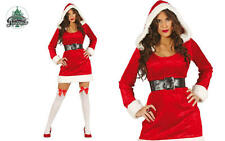 Ladies Sexy Miss Santa Christmas Hooded Velvet Fancy Dress Costume Outfit SMALL