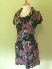 Mela Loves London Black Red Paisley Wool Feel Cowl Neck Warm Tunic Dress S