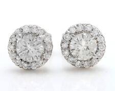 .85 Carat Natural VS2-SI1 Diamonds in 14k Solid White Gold Stud Earrings