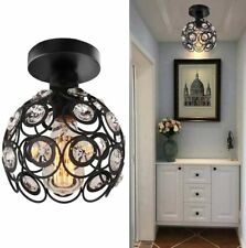Semi Flush Mount Ceiling Light Fixture, Antique Black Metal Crystal Chandelier