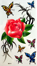 King Horse Big Bright Red Rose with Butterflies Temporary Tattoos HM114