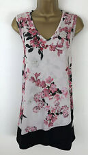 Yours Tunic Top Black Pink Floral Print Stretch V Neck Sleeveless Size 20