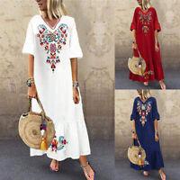 ZANZEA Women Flared Sleeve Long Shirt Dress Floral Print Sundress Pleated Dress
