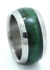 Titanium Ring With Green Maple Burl Inlay - FREE Ring Box