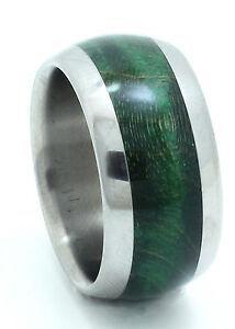 Titanium Ring With Green Maple Burl Inlay - FREE Ring Box