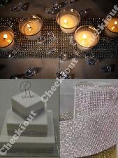NEW 20 Yard Silver Wedding Decorate Rhinestone Diamond Wraps Ribbon Mesh Roll