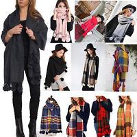 Ladies Soft Plain Fur Pom Pom Shawl Wrap Women Wool Party Fashion Winter Scarf