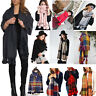Ladies Fashion Vintage Plain Shawl Women Fur Pom Pom Wool Scarf Check Wrap Xmas