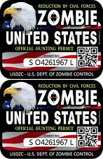"""ProSticker 1203 (2pk) 3"""" x 4"""" United States Zombie Hunting License Permit Decal"""