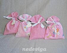 24 Stoff Säckchen rosa pink weiß Adventskalender Beutel - Fee Lilli - Handarbeit