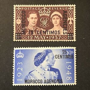 GREAT BRITAIN, MOROCCO, SCOTT # 82+93(2). KGV1 OVPT 1937-40 ISSUE MVLH
