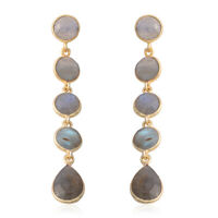 Labradorite Dangle Drop Earrings Vermeil Yellow Gold Over 925 Sterling Silver