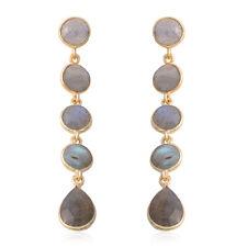 Labradorite Dangle Drop Earrings Vermeil Yellow Gold Over 925 Sterling Silver