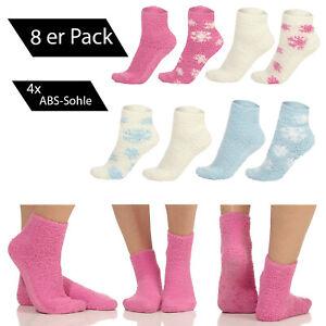 8 Paar flauschige Damen SOXON® Kuschelsocken Homesocks 4 Paar mit ABS-Sohle