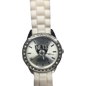 NIB GameTime Brooklyn Nets Stainless Steel With Frost White Band Women's Watch