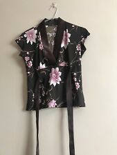 Brown Floral Top Size 14