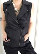 COUNTRY ROAD WOMENS VEST JACKET BLACK ZIPS POCKETS LINED COTTON STRETCH SZ 10