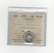 **1938**, ICCS  Graded Canadian,  10  Cent, **MS-62**