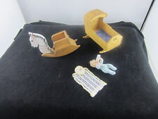 Sonia Messer Cradle /Rocking horse/ Baby and Blanket Set - Dollhouse miniatures