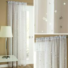 Starlight Voile Curtain White Silver Moon Stars Ready Made Rod Slot Top Curtains