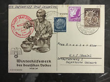 1938 Frankfurt Sudetenland Germany Graf Zeppelin II LZ 130 Postcard Cover to Hof