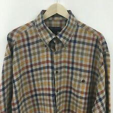 Mens XL SCOTT BARBER 100% Linen Plaid Shirt -SUPER- 4c