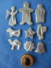10 Vintage Aluminum Cookie Cutters Gingerbread Man, Comicooky, ScottyDog, Camel+