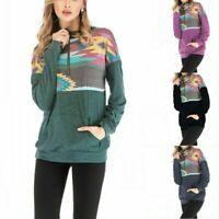 Women Long Sleeve Floral Zipper Sweatshirt Sweater Jumper Coat Pullover Blouse