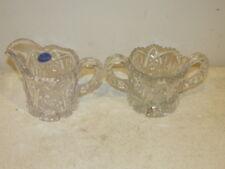 Vintage Imperial Glass Thonged Star Pattern Creamer w/Tag & Sugar VFC