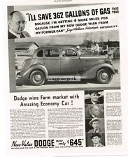 1935 Dodge 4-door Sedan Wins Farm Market With Economy Car Vtg Print Ad