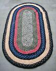 "Vintage Primitive Braided Fabric Rag Rug - Folk Art Farmhouse - 72"" x 39"""