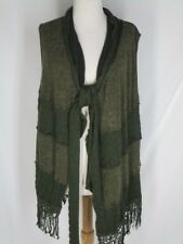NWT Pretty Angel Long Sweatervest Green Linen Blend M Fringe Ribbed Patchwork