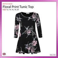 Ladies Print Floral Flared Tunic Top 3/4 Sleeves Casual Work Plus Size 12-20