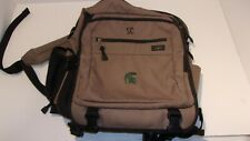 LL Bean Brown Canvas Backpack Messenger Bag Travel Handle with Embroidery