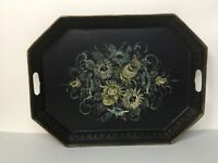 ANTIQUE Vintage BLACK HAND PAINTED TOLE FLORAL METAL SERVING TRAY LARGE signed