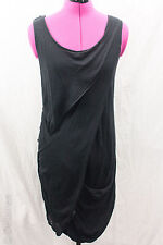 Quirky Draped Wrapped Minimalist Avant Garde Cotton Linen Knit Tunic Dress Sz S