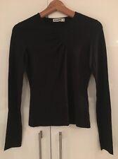 Jil Sander Black Stretch Silk Long Sleeved Top Shirt S Small