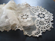 Beautiful antique French lace runner! High 15 cm, length 1.60 meters ... ca.1925