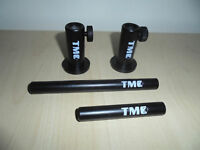 """2 x TMC Anodized Aluminium Stage stands with locking nuts, with 3 + 5"""" inserts."""