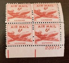 US Plate Blocks Stamps #C39 ~ 1949 DC-4 SKYMASTER 6c Plate Block of 4 MNH