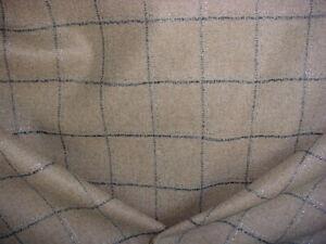 1-1/8Y Abraham Moon U1562 Kensington Mink Glittered Wool Plaid Upholstery Fabric