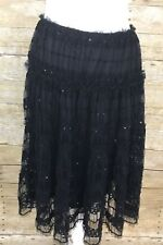 Max Studio Black Tulle Lace Tier Sequin Detail Stretchy Waist Skirt Size S P K15