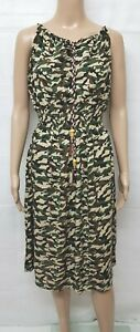 NEW LADIES ELASTICATED SHEARING MAXI SUMMER CAMOUFLAGE DRESS ONE SIZE(8/14)'P