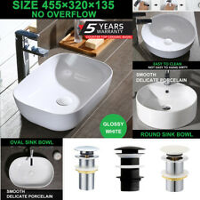 Bathroom Sink Bowl Laundry Above Counter Basin Ceramic No Overflow Glossy White