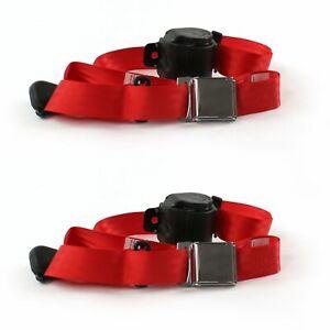 Desoto 1929 - 1945 Airplane 3pt Red Retractable Bucket Seat Belt Kit - 2 Belts