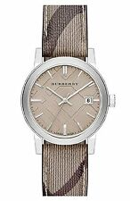 Burberry Swiss Made Smoke Check Haymarket Strap Watch 34mm BU9118 Women $395