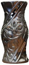 Silver Glitter Ceramic Flower Design Vase Round Hourglass Shape 20cm