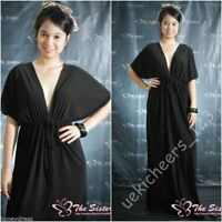 New Women Black Evening Cocktail Sexy Kimono Maxi Dress Plus Sz XL XXL 14 16 18