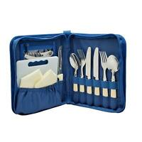 2 Person Picnic Travel Camping Cutlery Set In Zipped Storage Case By Royal