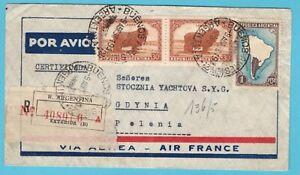 ARGENTINA R air cover 1938 Buenos Aires to Gdynia Poland